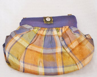 1940s Vintage Small Plaid Evening Purse