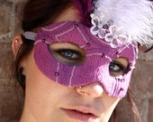 50% OFF! - Lady Vala - Purple Hand-Beaded Mardi Gras Mask with Feathers - OOAK