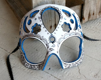 25% OFF! - Dama de Sombras - Calavera -Inspired Masquerade Mask in Icy Blue, Silver, and White Papier-Mache Clay