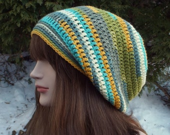 Slouchy Beanie, Womens Crochet Hat, Boho Slouchy Hat, Spring Multicolor Slouch Beanie, Oversized Hipster Hat, Slouch Hat, Baggy Beanie