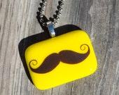 Fused Glass Pendant - Mustache - yellow