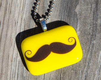 Fused Glass Pendant - Mustache - yellow