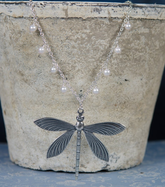 Dragonfly Necklace | Silver| Pearl | vintage nature-inspired garden charm Swarovski white pearls gift pendant jewelry | Handmade