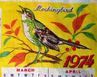"Vintage Tea Towel - Birds - Linen - 1974 Calendar - Reversible  - ""Two-For"" Discount - Item# TT024"