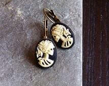 Skeleton cameo earrings, black ivory antique brass leverbacks, Halloween earrings, day of the dead