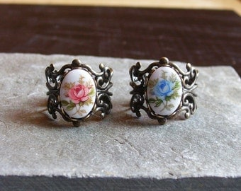 Rose filigree ring, antique brass ring, vintage cameo ring, pink rose ring, blue rose ring, porcelain ring