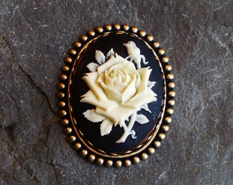 Rose flower cameo brooch, black and ivory cameo brooch, antique brass brooch, cameo jewelry, holiday gift ideas, gift ideas for mom