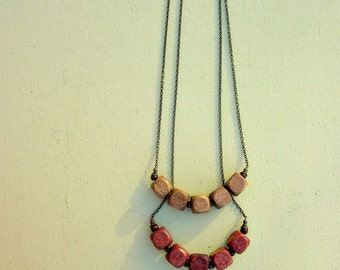 Wood Cube Beaded No Clasp Chain Necklace in Light or Cherry: Librarian