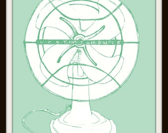 Vintage , Electric Fan , Graphic Art Print Poster 8 x 10 Giclee