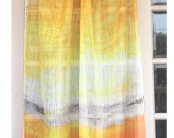 "Ombre Curtain - Sunrise 26""x84"" Sheer Rod Pocket Curtain Weave Fabric Decor Housewares Ombre Window Treatment Drapes Curtain Panels"