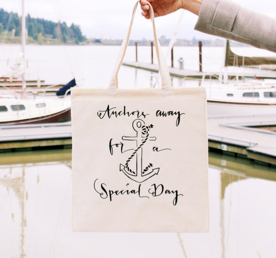 Cruise Ship Wedding Anchor Tote Bag Nautical Beach Favor