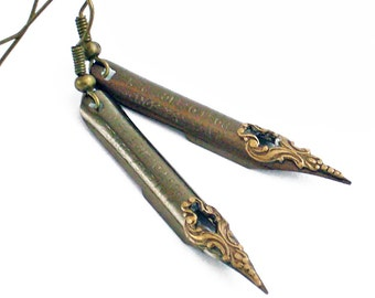 Mr Poe - Vintage Pen Nibs - Intricate Bronze on Steel Earrings Jewelry