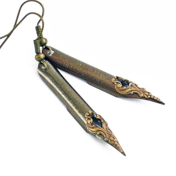 Mr Poe - Vintage Pen Nibs - Intricate Bronze on Steel Earrings Jewelry