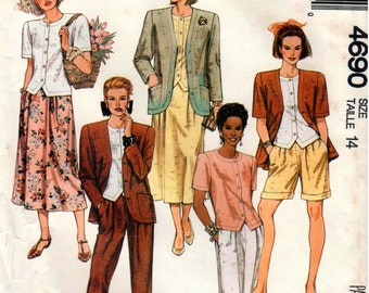 Vintage UNCUT McCall's Pattern 4690 - Misses Unlined Jacket, Top, Skirt, Pants and Shorts - 14