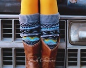 Nordic Aztec Print Leg Warmers Boot Socks Boot Cuffs