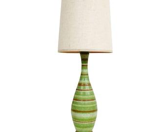 Raymor Bitossi Style Green Lamp Mid Century Modern