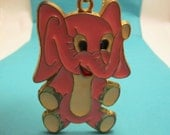 Huge Vintage Pink Elephant Glass Pendant Necklace on Long Gold-Plated Chain
