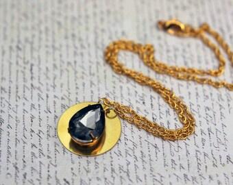 Black Crystal Pendant, Gold Brass Modern Necklace, Vintage Teardrop Crystal, Circle Pendant, Gift Box