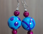 SALE! Large Hand-painted Wooden Bead Earrings - Turquoise - Purple - Sterling Silver Hooks  -  Bright - Colourful - Fun - Varnished