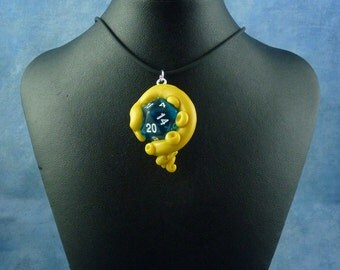 Yellow and Blue Sanity Check Necklace - Tentacle Wrapped D20 Pendant
