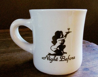 Exotic dancer strip club advertising coffee mug - 1970s logo - Naked lady  with martini glass - Playboy style