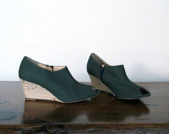 SALE // green espadrille wedge, 7