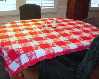 Vintage Simtex Tablecloth Red Checks & Maple Leaves