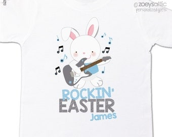 Easter shirt rockin' Easter bunny with guitar personalized Easter Tshirt