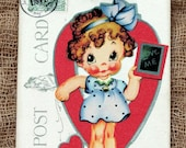Retro Style Love Me Valentine Girl Postcard Tags #447