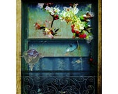 Collage Fine Art Photography Her Window 8X10 Historic Home Window Lace Curtains Flowers Home Decor Wall Art Photo Print  Surreal Dreamlike