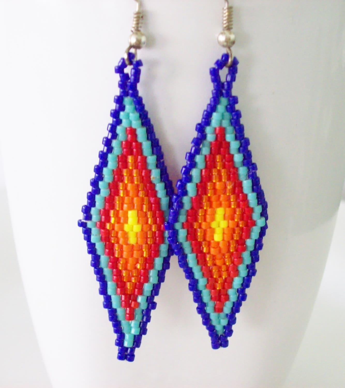 beaded american style earrings beadwork dangle