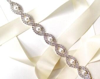 Headband - Lovely Crystal and Pearl Bridal Headband or Belt - White Ivory Silver Satin Ribbon Sash - Rhinestone Wedding Dress Belt