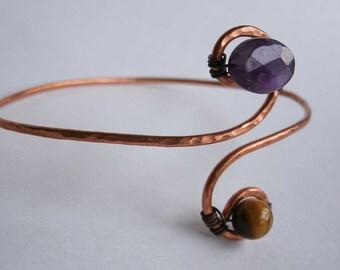 Tiger Eye Amethyst Hammered Copper Bracelet