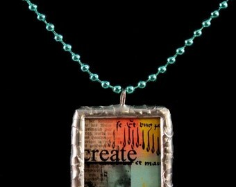 CREATE and IMAGINE Double Sided Soldered Inspirational Necklace - Free Shipping US -