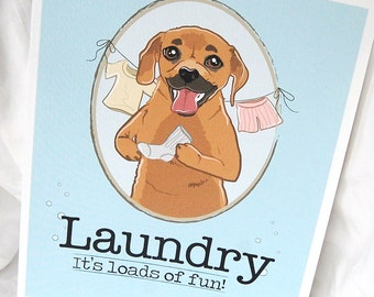 Puggle Laundry Print - 8x10 Eco-friendly Size