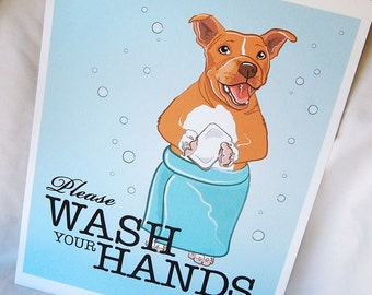 Wash Your Hands Red Pit Bull - 8x10 Eco-friendly Print