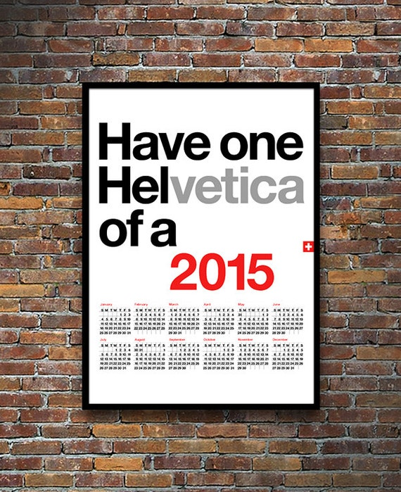 Typography Printable Calendar : Calendar retro typography poster mid century modern