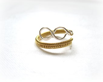 Silver And Gold Infinity Ring - Two Tone - Adjustable Wrap Around Ring