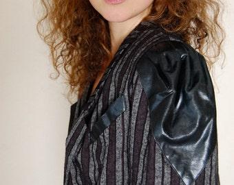 Striped Jacket Vintage 80s Black Charcoal Leather Striped Urban Indie Jacket  (s m)