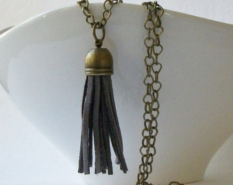 Grey Faux Leather Brass Tassel Necklace