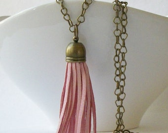 ON SALE Light Pink Faux Leather Brass Tassel Necklace