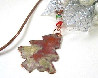 Christmas Tree Holiday Bookmark, Gift for Bookworm, Metal Bookmark, Rustic Primitive Hammered Copper Book Mark, Red & Green Beaded Bookmark