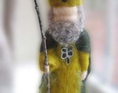 WALDORF Felted Saint Patrick wool felt shamrock St. Patrick's Day doll by Waldorf fiber artist KELLY SUNDSTROM