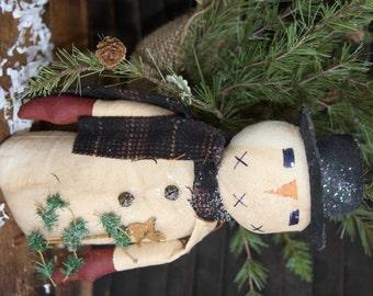SALE Primitive Snowman Slim Folk Art Holiday