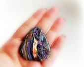 Polymer Clay Handmade Cabochon / Pendant - Grey Black White Violet Multicolor -  Marble Effect - 1 piece