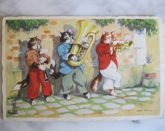 Vintage. Dressed Cats. Very old Dutch Postcard. Playing the blues.1950 era