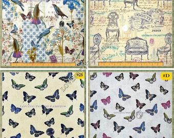 "David Textiles Victorian Furniture Birds Butterflies Fabrics 1/2 yard 18"" x 44"" (Make a Selection)"