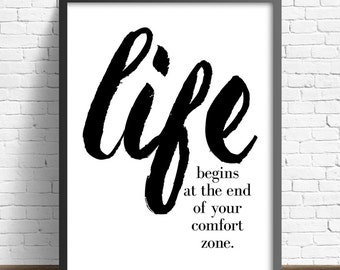 "INSPIRING ""Life Begins"" Poster (Black type on White Background)16x20 inchon A2, Inspiring Quote"