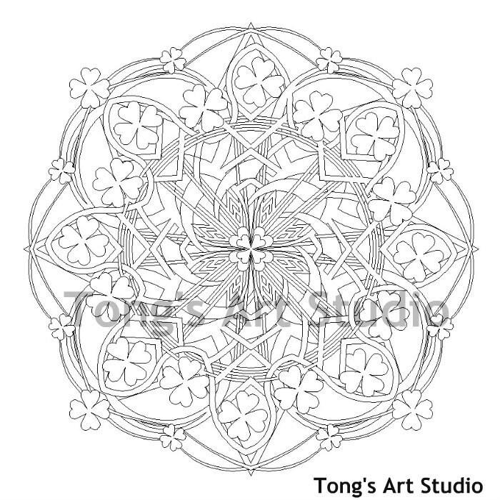 Printable Mandala Coloring-007, St Patrick\'s Day coloring page ...