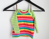 long sleeve shirt - 6 to 9 months - cotton rainbow stripes shirt - rebourne kids clothes - cotton candy rainbow